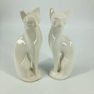 "Vintage  Pair 14"" White Mid Century Modern Cats"